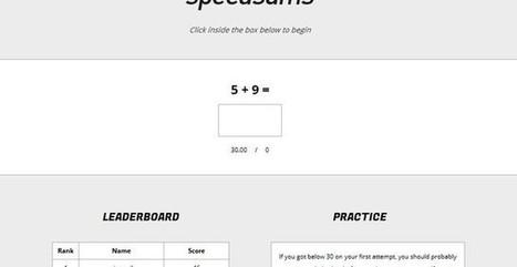 Speedsums, juego matemático para realizar operaciones básicas de memoria | RECURSOS MATEMATICA | Scoop.it