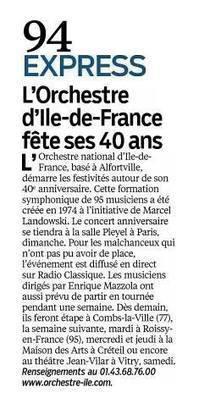 Le Parisien   L'Orchestre national d'Île-de-France fête ses 40 ans !   Scoop.it