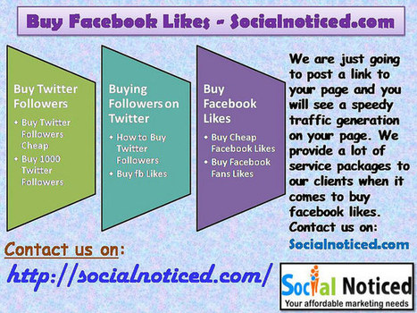 Buy Facebook Likes - Socialnoticed.co | Buying facebook likes | Scoop.it