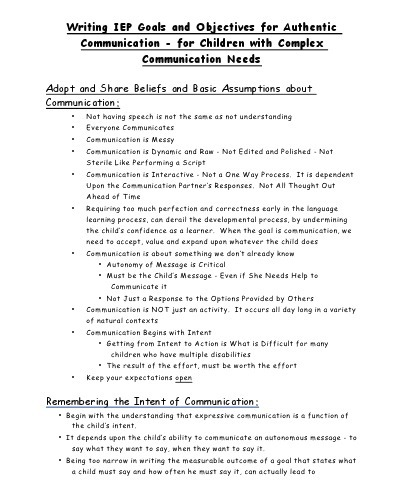 Writing IEP Goals and Objectives for Authentic Communication- for Children with Complex Communication Needs by Linda Burkhart & Gayle Porter | AAC | Scoop.it