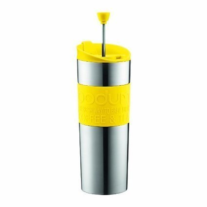 Bodum Stainless Steel Vacuum Travel Press Coffee Maker with Yellow Silicone Grip, 16-Ounce | Best Coffee Makers Reviews | Scoop.it