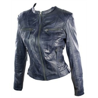 Ladies Real Leather Jacket Short Fitted Vintage Style Blue Violet Retro Chinese Collar | Womens Clothing | Scoop.it