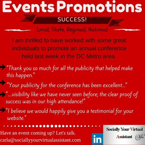 Does your organization/association/business have an event coming up? #eventpromotions | Virtual Assistant | Scoop.it