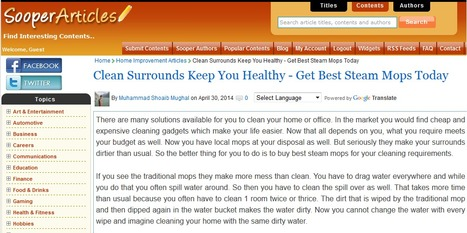 Clean Surrounds Keep You Healthy - Get Best Steam Mops Today   Steam Mops   Scoop.it