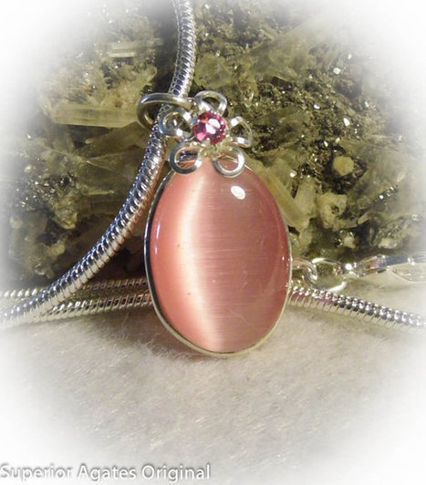 Pink Cats Eye Silver Wire Wrapped Girls Necklace | Blarney_Stone Antiques and Collectibles | Scoop.it