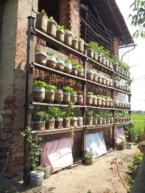 Self watering vertical garden with recycled water bottles - Instructables   Reuse and DIY   Scoop.it
