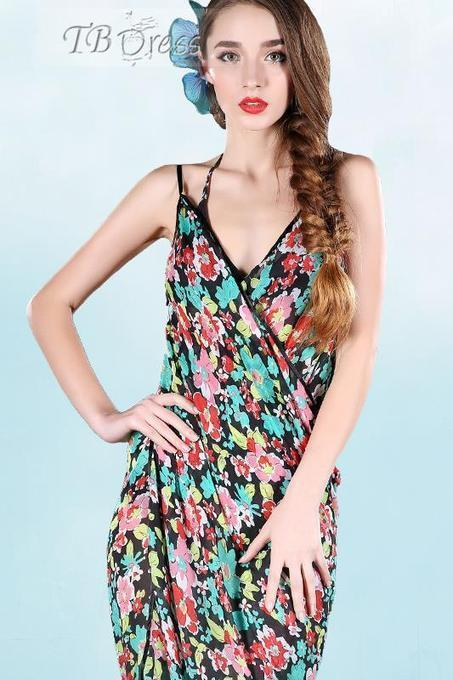 Splendid Petty Flowers Print Straped Chiffon Beach Dress | FASHION-BEAUTY-CLOTHES-GIRL | Scoop.it