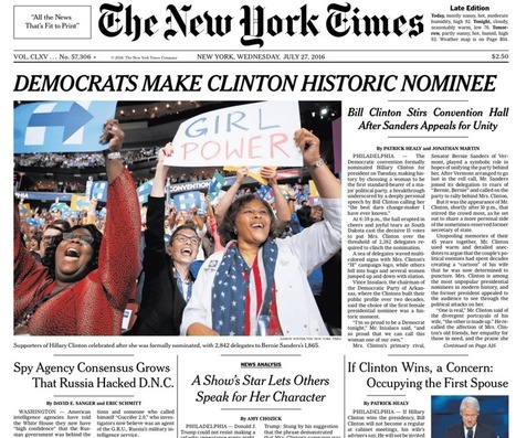Clinton makes history! A look at newspaper front pages from across the United States of America | For safe keeping | Scoop.it