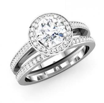 ROUND DIAMOND HALO BRIDAL SET | Wedding Ring | Scoop.it