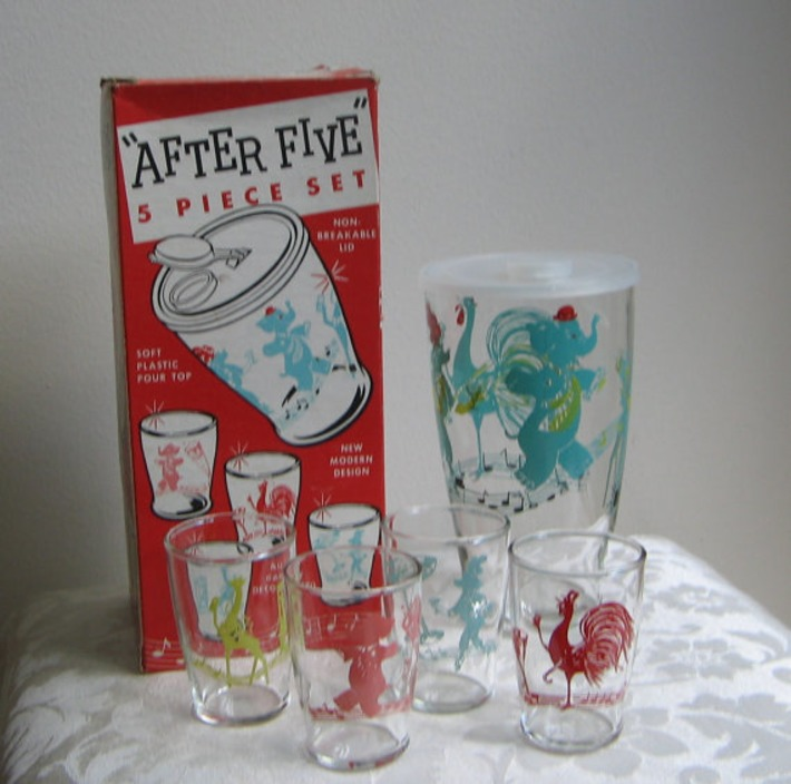 """Vintage Mid Century Barware Circus Animals Turquoise Red """"After Five"""" Set, Glass Shaker Four Glasses Box PARTY ANIMALS 