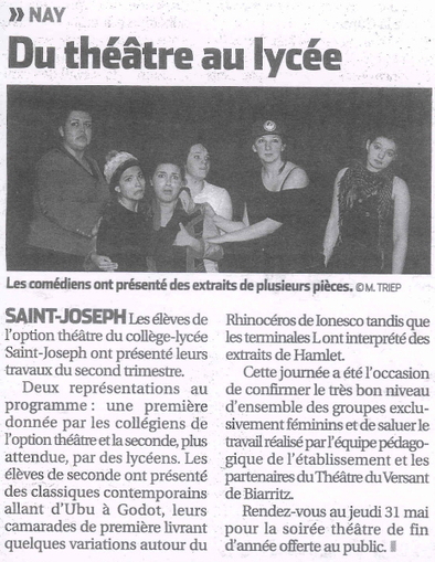 Collège-Lycée saint Joseph Nay » Revue de presse Section Théâtre » Présentation théâtre du 2ème trimestre de nos lycéens   St Jo   Scoop.it