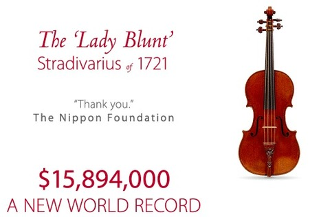The 'Lady Blunt' 1721 Stradivarius Violin Sets World Record Price at Tarisio Auction | Violins | Scoop.it
