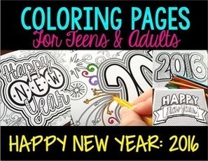 Coloring Pages for Adults, Teens: New Year 2016 | Resources for Teachers | Scoop.it