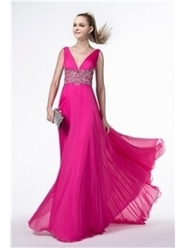 $ 130.99 Charming V-Neck Empire Beading Floor-Length Prom Dress   wedding  and event   Scoop.it