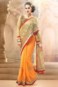 Designer Sarees - Light Orange and Golden Net Georgette Saree Comprising Embroidered work with dupion Blouse Piece | Indian Salwar Kameez Online | Scoop.it