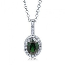 BERRICLE - Oval Cut Emerald Cubic Zirconia Sterling Silver Halo Pendant Necklac | Berricle Necklaces | Scoop.it