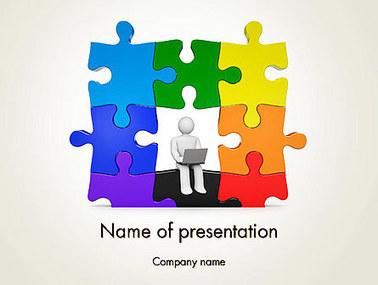 Stickman Sitting on Puzzle Presentation Template | Presentation Templates | Scoop.it