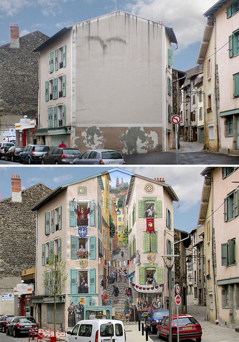 Artist Paints Vibrant, Realistic Frescoes Over Old Building Facades | Le It e Amo ✪ | Scoop.it