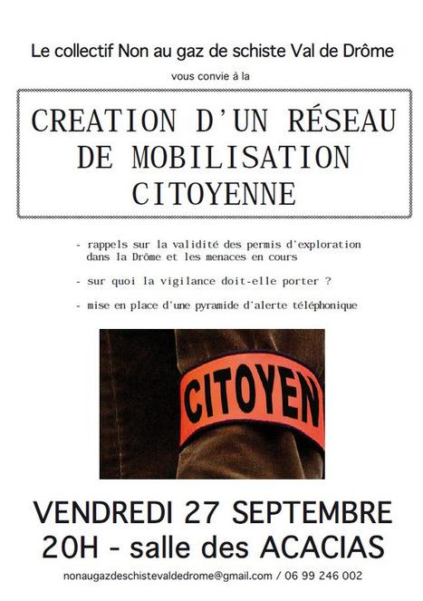 Création d'un réseau de mobilisation citoyenne contre les gaz de schiste vendredi soir à Crest | Lecture citoyenne | Scoop.it