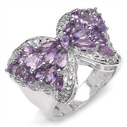 3.40 Carat Genuine Amethyst Butterfly Theme Silver Ring | Rings of the World | Scoop.it