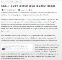 Google to Start Showing Company Logos in Search Results? | Bill Hartzer | Branding and Marketing Insights | Scoop.it