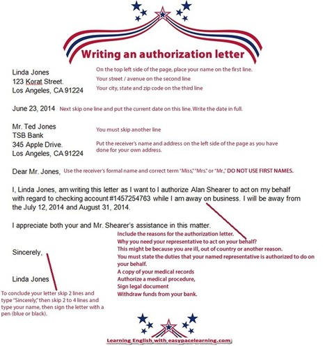 Writing an authorization letter with example authorization letter | Learning Basic English, to Advanced Over 700 On-Line Lessons and Exercises Free | Scoop.it