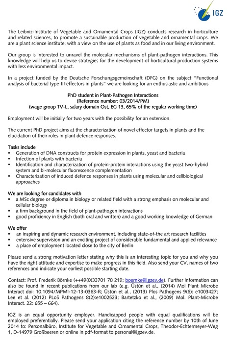 PhD Position in Plant-Pathogen Interaction available in our Lab | Publications @ the Börnke Lab | Scoop.it
