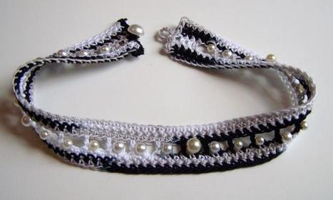 Black and White Necklace  Bracelet Set Handmade of Beaded Crochet w/ Pearl Bead Accents Made in the USA | Handmade Quality Items | Scoop.it