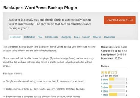 8 WordPress Plugins to Take Backup of Your Blog | I LOVE SCOOP | Scoop.it