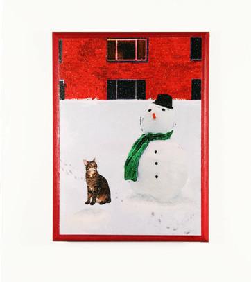Christmas Wall Art: Cat & Snowman | Deborah Julian Art | Christmas Cat Ornaments and Cards | Scoop.it