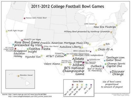 Spatial distribution of college football bowl games... | Geographic Information Technology | Scoop.it