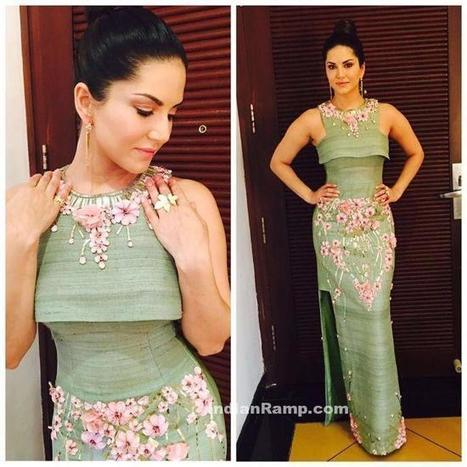 Sunny Leone in Green Cutout Gown by Archana Kochhar, Actress, Bollywood, Hollywood, Western Dresses | Indian Fashion Updates | Scoop.it