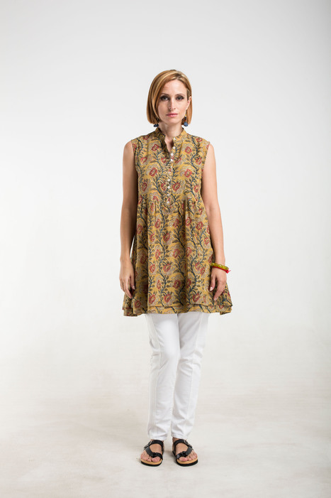 mustard kalamkari cotton top with side buttons and double hem | 2014 Collection | Scoop.it