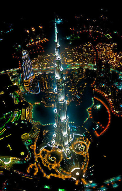 Tallest building in the world, from a helicopter, at night. need I say more? | Unique Places | Scoop.it
