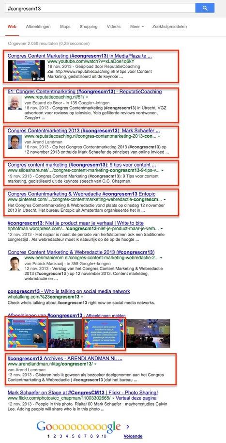 Zo domineer je de eerste pagina met zoekresultaten voor #congrescm13 congres contentmarketing | Congres Contentmarketing & Webredactie Entopic | Scoop.it