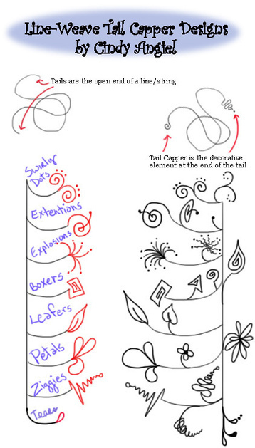 Tail Capper Zendoodles for Line Weavers | Artistic Line Designs-all free | Scoop.it