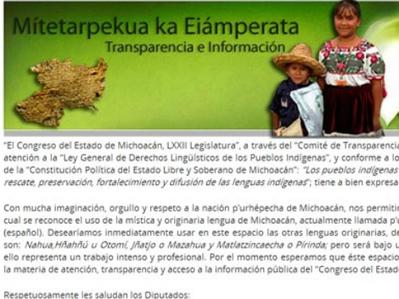 Publican portal del Congreso michoacano en purépecha - Grupo Milenio | Metaglossia: The Translation World | Scoop.it