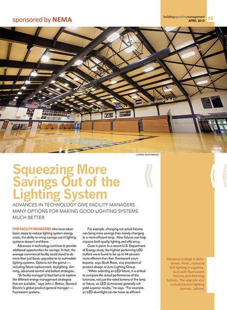 """Article from Building Operating Management Magazine:  """"Squeezing More Savings Out of the Lighting System"""" 