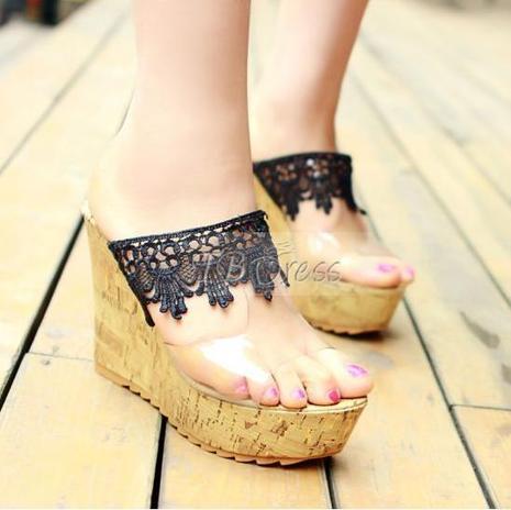Best Lace Wedge Heels Platform Girl Summer Slippers | beauty girl | Scoop.it