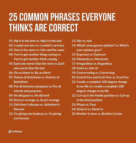25 Common Phrases Everyone Thinks Are Correct | Teaching a Modern Business Communication Course | Scoop.it