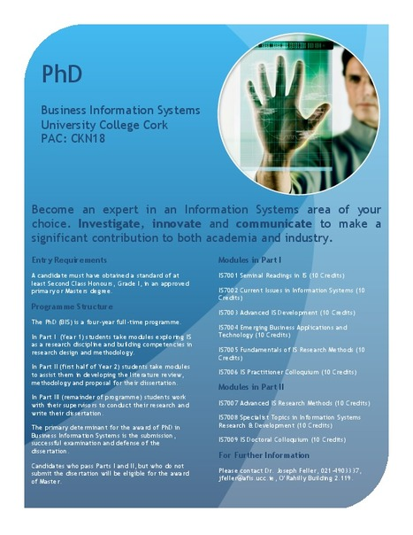 Phd in Business Information Systems at University College Cork | Phd In Business Information Systems at University College Cork | Scoop.it