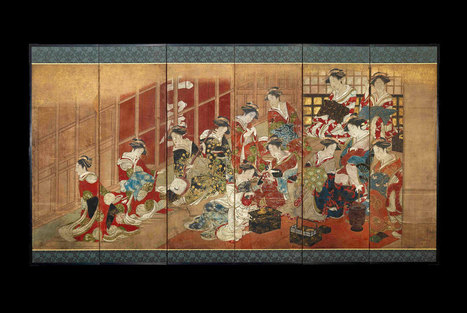 Women of the pleasure quarters: A Japanese painted screen on view at the British Museum | Art Daily | Kiosque du monde : Asie | Scoop.it