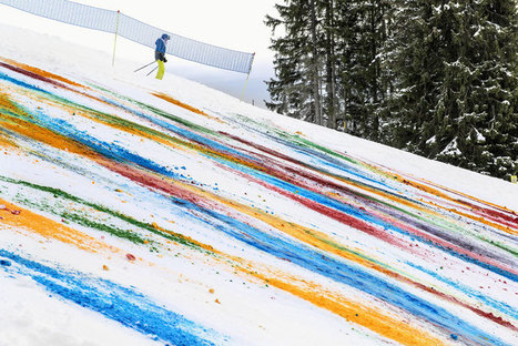 olaf breuning colorizes a mountainside for snow drawing - designboom | architecture & design magazine | Art Installation | Scoop.it