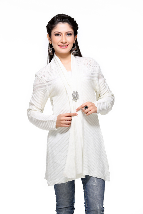Fashionable White Color Shrug | Women Winter Clothes | Scoop.it