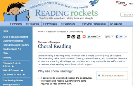 Choral Reading | Classroom Strategies | Reading Rockets | Teaching L2 Reading | Scoop.it