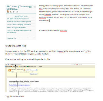 Moodle tips - adding an rss feed to your Moodle module | Let's Learn IT: Moodle@School | Scoop.it