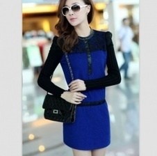 Buy Vogue Lace Flower Slicing Long Sleeve Autumn Dress Sapphire Blue with cheapest price|wholesale-dress.net | fashion pants | Scoop.it