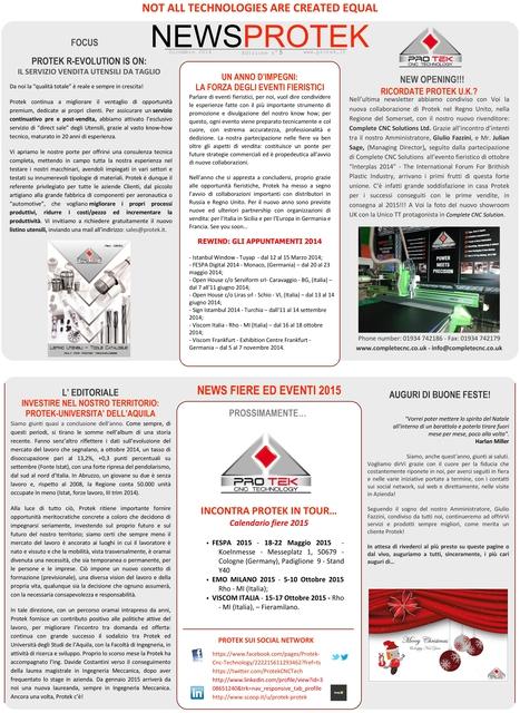 NEWSPROTEK - N. 6 - DICEMBRE 2014 | Protek Cnc Technology | Scoop.it