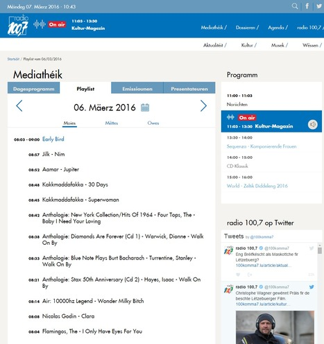 Nim played on 100.7 (Luxembourg's public service radio) - Playlist vum 06/03/2016 | Jilk | Scoop.it