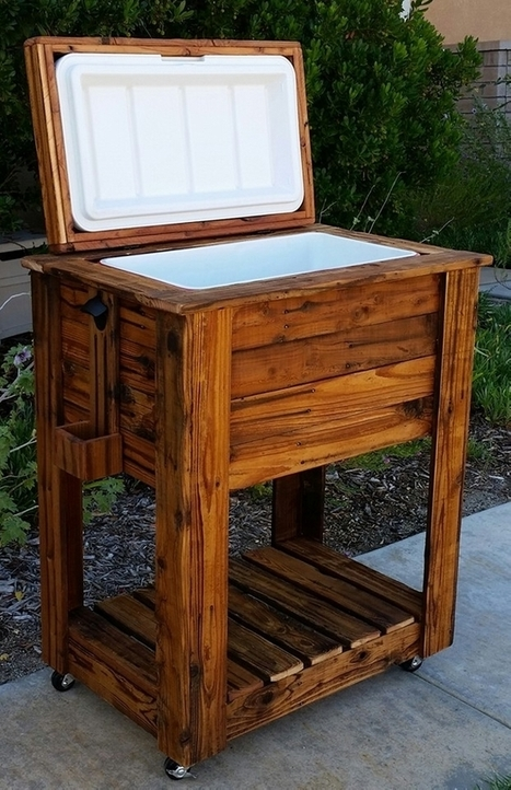 Upcycled rustic custom wood coolers upcycle for Wooden beer cooler plans